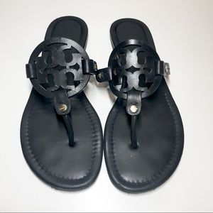 Tory Burch Miller Sandals 8 Matte Black